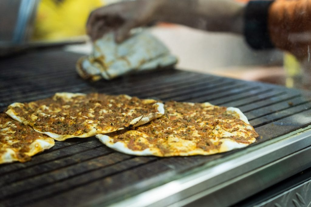 Ornek Lahmacun EVI Berlin Lahmacun on hot plate